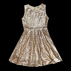 All-Sequin Gold Dress